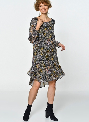 Blend She Blend She Şal Desenli Elbise Siyah